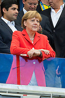The Chancellor of Germany Angela Merkel watches the game