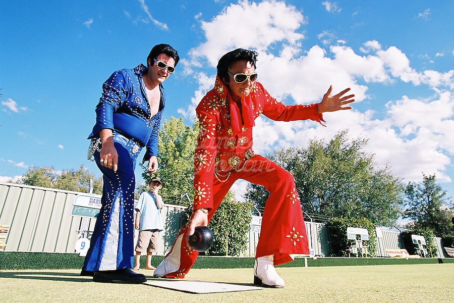 The Central NSW town of Parkes, Australia comes alive on the second weekend in January every year to the sounds of hip-swiveling Elvis impersonators at the Clubs NSW Parkes Elvis Festival. Held over 5 days, the Festival Program features more than 100 events! Highlight events include the Elvis Street Parade, Elvis in the Park Festivities, Elvis Feature Concerts, Elvis Gospel Church Service and the Miss Priscilla dinner<br /> Pictures by James Horan