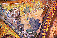 The 11th century Roman Byzantine Church of the Holy Saviour in Chora and its mosaic of an angel breaking the Good news to Mary of he forthcoming Virgin Birth (panel G-39).  Endowed between 1315-1321  by the powerful Byzantine statesman and humanist Theodore Metochites. Kariye Museum, Istanbul