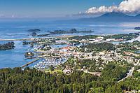 Aerial view of the coastal community of Sitka, Alaska, on Baranoff Island in the Southeast Alaska panhandle.