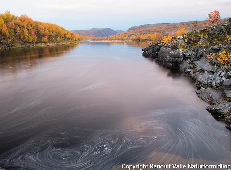 Høstfarger og kveld ved Stabburselva i Finnmark. ---- Fall colours by Stabburselva.