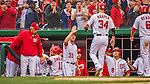 7 April 2016: Washington Nationals outfielder Bryce Harper comes home to score during the Nationals' Home Opening Game against the Miami Marlins at Nationals Park in Washington, DC. The Marlins defeated the Nationals 6-4 in their first meeting of the 2016 MLB season. Mandatory Credit: Ed Wolfstein Photo *** RAW (NEF) Image File Available ***
