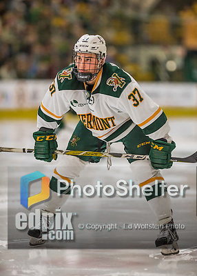 18 December 2016: University of Vermont Catamount Forward Ross Colton, a Freshman from Robbinsville, NJ, prepares to take a second period face off against the Union College Dutchmen at Gutterson Fieldhouse in Burlington, Vermont. The Catamounts fell to their former ECAC hockey rivals 2-1, as the Dutchmen sweep the two-game weekend series. Mandatory Credit: Ed Wolfstein Photo *** RAW (NEF) Image File Available ***