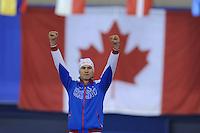SPEEDSKATING: CALGARY: 15-11-2015, Olympic Oval, ISU World Cup, Podium 500m Men, winner Pavel Kulizhnikov (RUS), ©foto Martin de Jong