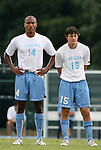 31 August 2008: UNC's Jordan Graye (14) and Cameron Brown (15). The University of North Carolina Tar Heels defeated the Virginia Commonwealth University Rams 1-0 in overtime at Fetzer Field in Chapel Hill, North Carolina in an NCAA Division I Men's college soccer game.