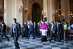 President Alan Garcia leaves Easter mass at La Catedral de Lima on Sunday, Apr. 12, 2009 in Lima, Peru.