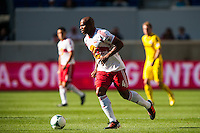 Jamison Olave (4) of the New York Red Bulls. The New York Red Bulls and the Columbus Crew played to a 2-2 tie during a Major League Soccer (MLS) match at Red Bull Arena in Harrison, NJ, on May 26, 2013.