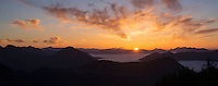 Sunset over Allg&auml;uer Alpen from summit of Breitenberg, Alg&auml;u, Bavaria, Germany
