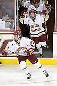 Mary Restuccia (BC - 22), Megan Shea (BC - 23) - The Boston College Eagles defeated the Boston University Terriers 2-1 in the opening round of the Beanpot on Tuesday, February 8, 2011, at Conte Forum in Chestnut Hill, Massachusetts.