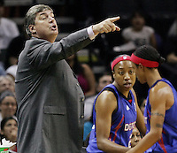 Detroit head coach Bill Laimbeer yells instructions to his players during Game 2 of the WNBA Finals between the Detroit Shock and the San Antonio Silver Stars, Oct. 3, 2008, at the AT&T Center in San Antonio. Detroit won 69 - 61 to go up 2 - 0 in the best-of-five series. (Darren Abate/pressphotointl.com)