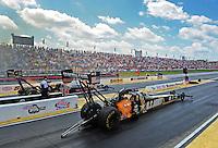 May 6, 2012; Commerce, GA, USA: NHRA top fuel dragster driver Tony Schumacher during the Southern Nationals at Atlanta Dragway. Mandatory Credit: Mark J. Rebilas-