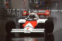 MONTE CARLO, MONACO - JUNE 3: Alain Prost of France drives his McLaren MP4-2 2/TAG TTE PO1 en route to victory in the Grand Prix de Monaco FIA Formula One World Championship race on the temporary Circuit de Monaco in Monte Carlo, Monaco, on June 3, 1984.