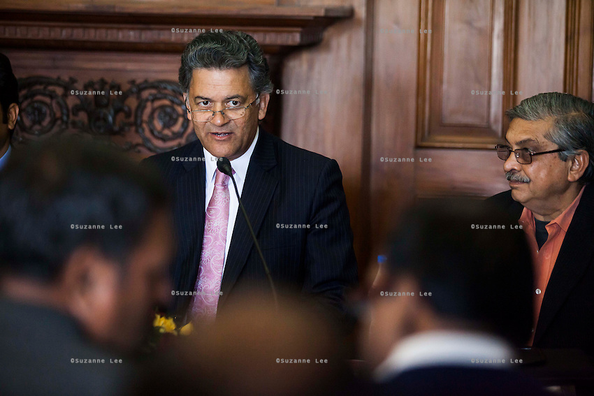 Nik Senapati (Rio Tinto Managing Director) speaks to the media during a press conference on Oz Fest in Raj Mahal Palace hotel, Jaipur, India on 10th January 2013. Photo by Suzanne Lee/DFAT