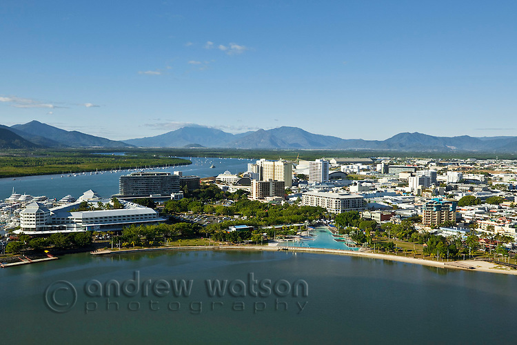 Aerial view of Esplanade lagoon and city centre.  Cairns, Queensland, Australia.