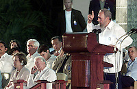 Photo File/ Former president of U.S. Jimmy Carter (L)  listens the Cuban president's speech Fidel Castro today May 13/2002 during the act carried out in the International School of Medicine, to the west of The Havana. Carter is on a six-day visit to Cuba, and is the first American president to visit the communist island since Fidel Castro took power in 1959. Credit: Jorge Rey/MediaPunch