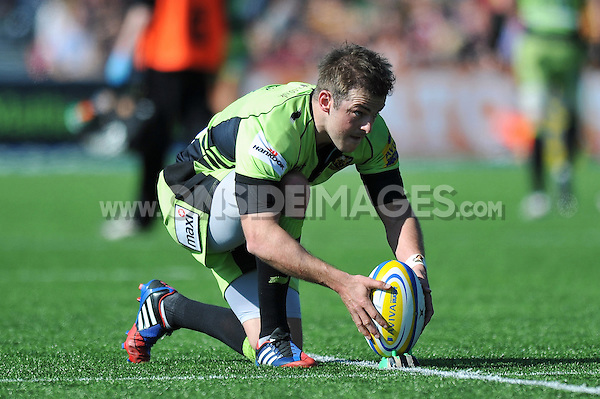 Stephen Myler lines the ball up for a conversion. Aviva Premiership match, between Saracens and Northampton Saints on April 13, 2014 at Allianz Park in London, England. Photo by: Patrick Khachfe / JMP