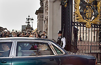 Prime Minister Gordon Brown leaves Buckingham Palace in London after meeting the Queen to ask for a dissolution of parliament, prompting a general election on May 6th 2010.