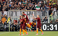 Calcio, Serie A: Roma vs Juventus. Roma, stadio Olimpico, 14 maggio 2017. <br /> Roma&rsquo;s Stephan El Shaarawy, left, celebrates with teammates Emerson Palmieri, second from left, Daniele De Rossi, second from right and Radja Nainggolan, after scoring during the Italian Serie A football match between Roma and Juventus at Rome's Olympic stadium, 14 May 2017. Roma won 3-1.<br /> UPDATE IMAGES PRESS/Riccardo De Luca