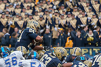 Pitt running back James Conner (24) scores on a one-yard touchdown run. The Duke Blue Devils defeated the Pitt Panthers 51-48 at Heinz Field, Pittsburgh Pennsylvania on November 1, 2014.