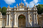 The Ottoman Stle Architecture of the gate of the Dolmabahçe (Dolmabahce)  Palace, built by Sultan, Abdülmecid I between 1843 and 1856. Istanbul Turkey