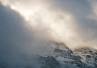stormclouds forming over mountain in swiss alps