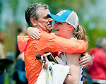 LITCHFIELD,  CT-052017JS14- Litchfield's Sarah Beres gets a congratulatory hug from her father Lou Beres after taking first place in the pole vault and tying a school record during the Berkshire League Outdoor Track and Field Championships Saturday at the Plumb Hill Sports Complex in Litchfield. <br /> Jim Shannon Republican-American