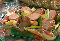 Kielbasa with potato, carrots, celery, green peppers, red peppers, and onion
