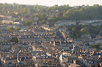A view of Bath from Beechen Cliff. Bath, UK, May 16, 2015. The UNESCO World Heritage city of Bath is famed for its hot spa that dates back to Roman times and for its Georgian architecture. For much of its history the city has been a popular holiday resort. It is the only hot spa in the UK.
