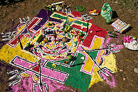 A mandala 'painted' from colored powders serves as a sacrificial altar at a ceremony to the goddess Nanda Devi.