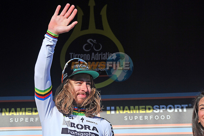 World Champion Peter Sagan (SVK) Bora-Hansgrohe retains the Maglia Rossa points jersey at the end of Stage 6 of the 2017 Tirreno Adriatico running 168km from Ascoli Piceno to Civitanova Marche, Italy. 13th March 2017.<br /> Picture: La Presse/Gian Mattia D'Alberto | Cyclefile<br /> <br /> <br /> All photos usage must carry mandatory copyright credit (&copy; Cyclefile | La Presse)