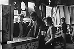 Teddy Boys playing a Pin Ball machine London pub. Whitechapel London 1970s Britian...