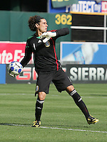 Guillermo Ochoa passes out the ball. Mexico defeated Nicaragua 2-0 during the First Round of the 2009 CONCACAF Gold Cup at the Oakland, Coliseum in Oakland, California on July 5, 2009.
