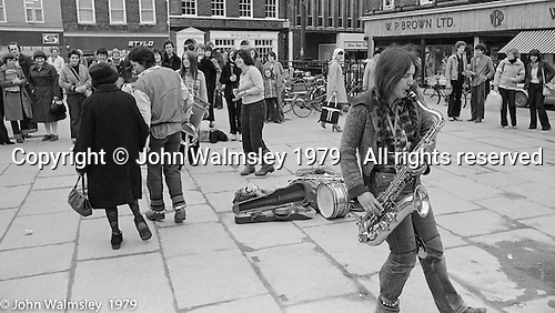 The York Street Band playing in York, March 1979.  Sarha Moore and Ros Davies went on to play in The Bollywood Band, and Ros also joined the Grand Union Band, in London.  Anthea Gomez went on to write and play music for the theatre and then BBC Drama before changing direction.