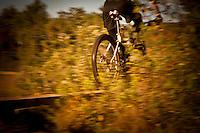 Mountain biking in the thick woods of Copper Harbor Michigan Michigan's Upper Peninsula.