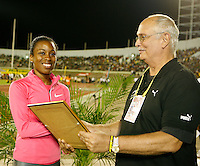 Treniere Clement accepting her award after placing 3rd. in the 800m with a time of 2:02.27sec. at the Jamaica International Invitational Meet held at the National Stadium, Kingston, Jamaica on Saturday, May 2nd. 2009. Photo by Errol Anderson, The Sporting Image.net