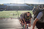 Some cadets of the Bobcat Battalion carried backpacks as they ran 2,071 stairs in Peden Stadium to represent the 2,071 stairs in one of the World Trade Center towers during the 9/11 Stair Challenge Event  on Sept. 11, 2016.