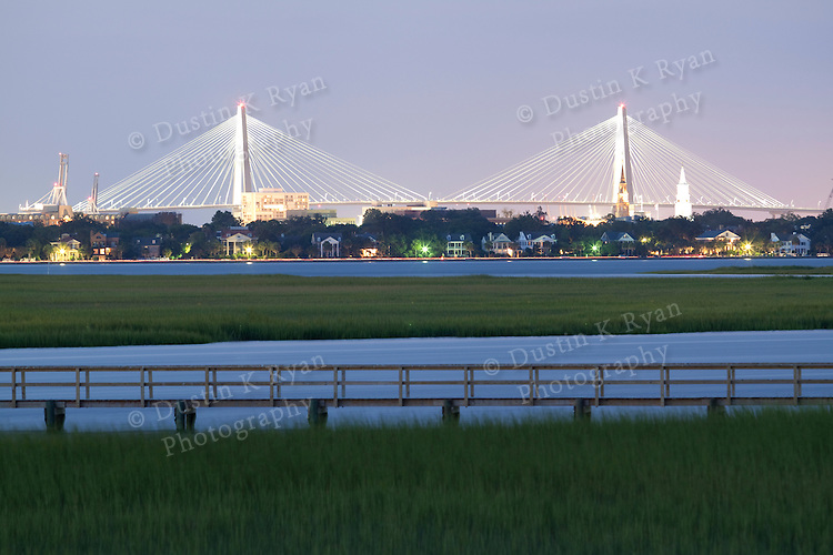 Arthur Ravenel Jr Bridge over the Cooper River in Charleston South Carolina at Night