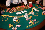 Blackjack table in Las Vegas, Nevada, Caesars Palace and Casino, gaming, gambling, blackjack, betting, croupier, hands, chips, betting, model released, cards, NV, Las Vegas, Photo nv229-17941.Copyright: Lee Foster, www.fostertravel.com, 510-549-2202,lee@fostertravel.com