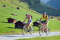 Pfunds, Tiroler Oberland, Austria, August 2009. Mountainbiking to the green grassy highlands of the Pfundser Tschey, with its traditional log cabin huts. Photo by Frits Meyst/Adventure4ever.com