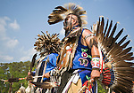 Charles Hankinson (Eagle Tail) (far side), a Native American from the Micmac tribe of Canada, and Keith Anderson, his dancing brother, dance at the 8th Annual Redwing PowWow in Virginia Beach, Virginia.