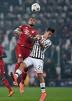 FUSSBALL CHAMPIONS LEAGUE  SAISON 2015/2016 ACHTELFINAL HINSPIEL Juventus Turin - FC Bayern Muenchen             23.02.2016 David Alaba (li, FC Bayern Muenchen) gegen Paulo Dybala (re, Juventus Turin)