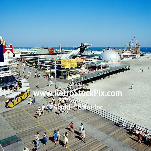 Moreys Pier Boardwalk Wildwood, NJ. Tram Cars and Marlboro Cigarette Sign.