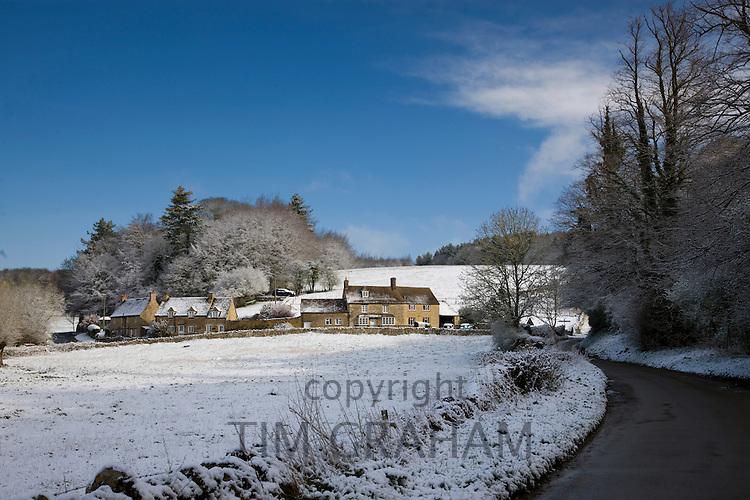 Snow at Swinbrook in Oxfordshire, England, United Kingdom