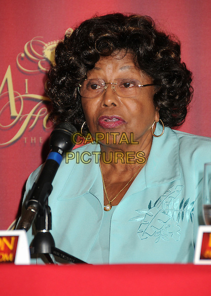 """Katherine Jackson.""""Michael Forever The Tribute Concert"""" Press Conference held at The Beverly Hills Hotel, Beverly Hills, California, USA..July 25th, 2011.headshot portrait blue green  microphone .CAP/ADM/BP.©Byron Purvis/AdMedia/Capital Pictures."""
