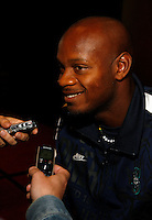 Asafa Powell former 100m World Record Holder at the Prefontaine Classic Press Conference on Saturday, June 7th. 2008. Photo by Errol Anderson, The Sporting Image.