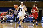 17 December 2015: Duke's Angela Salvadores (ESP) (3) is chased by Liberty's Mikal Johnson (21). The Duke University Blue Devils hosted the Liberty University Flames at Cameron Indoor Stadium in Durham, North Carolina in a 2015-16 NCAA Division I Women's Basketball game. Duke won the game 79-41.