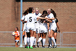 21 August 2016: North Carolina's Hannah Gardner (center) is mobbed by teammates after her goal. The University of North Carolina Tar Heels hosted the University of North Carolina Charlotte 49ers in a 2016 NCAA Division I Women's Soccer match. UNC won the game 3-0