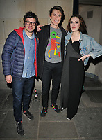 Simon Bird, Tom Rosenthal and Charlotte Ritchie at the &quot;The Philanthropist&quot; theatre cast departures, Trafalgar Studios, Whitehall, London, England, UK, on Thursday 13 April 2017.<br /> CAP/CAN<br /> &copy;CAN/Capital Pictures