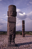 One of the Toltec Warrior sculptures or Atlantean Men on top of the Temple of Quetzalcoatl at the ruins of Tula, Hidalgo state, Mexico