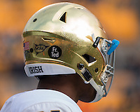 A Fr. Ted tribute is shown on the Notre Dame helmet. The Notre Dame Fighting Irish football team defeated the Pitt Panthers 42-30 on Saturday, November 7, 2015 at Heinz Field, Pittsburgh, Pennsylvania.